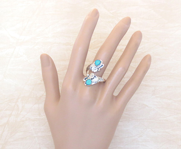 Image 1 of   Turquoise & Sterling Silver Adjustable Ring Native American Jewelry - 2540rb