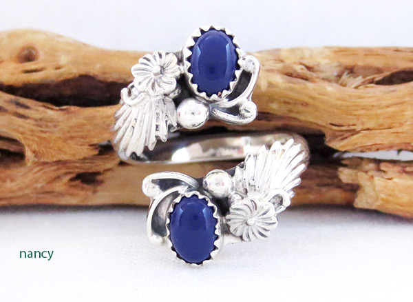 Image 0 of Lapis & Sterling Silver Adjustable Ring Native American Jewelry - 2542rb