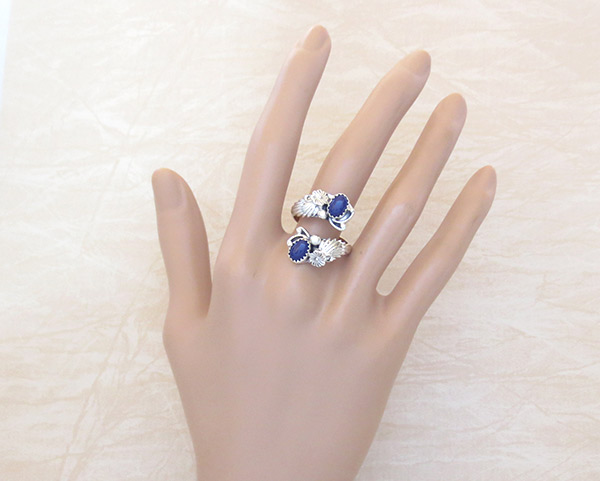 Image 1 of Lapis & Sterling Silver Adjustable Ring Native American Jewelry - 2542rb