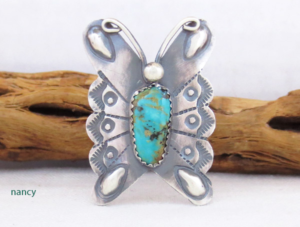 Image 0 of Navajo Jewelry Turquoise & Sterling Silver Butterfly Ring Sz 9 - 2539rb