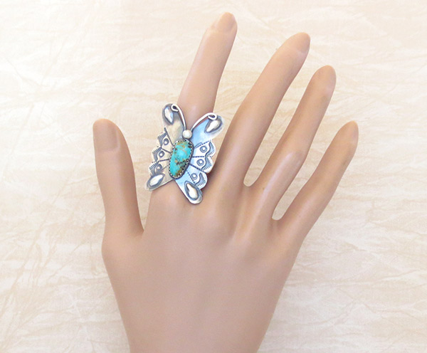 Image 1 of Navajo Jewelry Turquoise & Sterling Silver Butterfly Ring Sz 9 - 2539rb