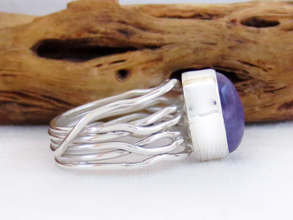 Image 2 of     Charoite & Sterling Silver Ring Sz 6 Native American Jewelry - 2538sn