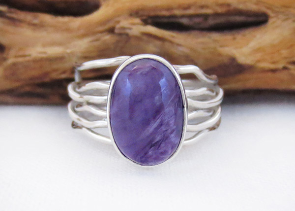 Image 0 of     Charoite & Sterling Silver Ring Sz 6 Native American Jewelry - 2538sn