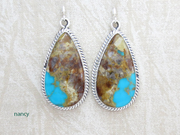Image 0 of    Boulder Turquoise & Sterling Silver Earrings Native American jewelry - 2548rb