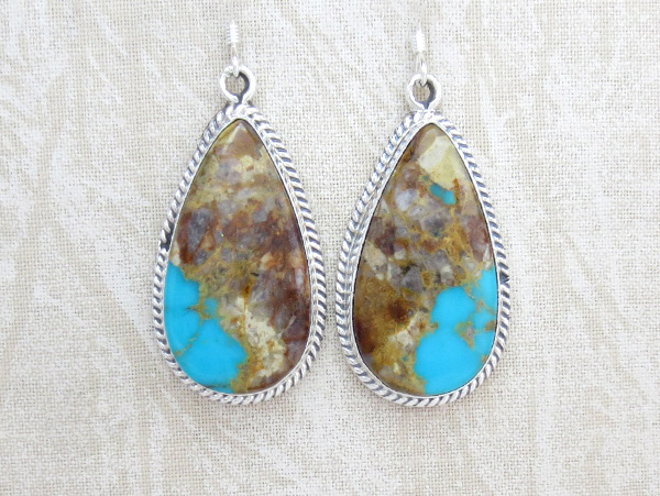 Boulder Turquoise & Sterling Silver Earrings Native American jewelry - 2548rb
