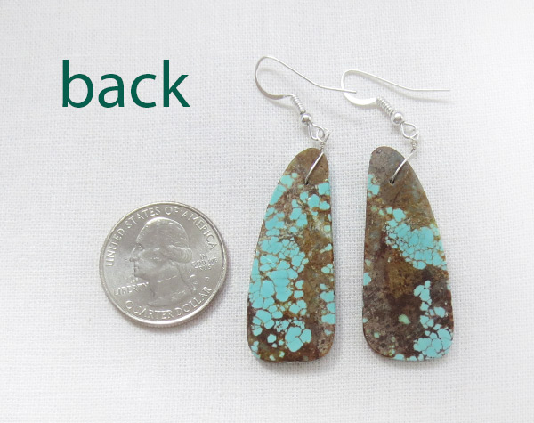 Image 2 of   Native American Jewelry #8 Mine Turquoise Slab Earrings - 2549dt