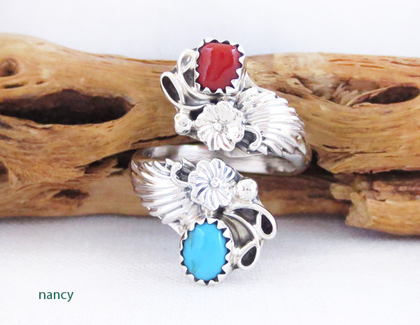 Image 0 of Turquoise Coral Sterling Silver Adjustable Ring Native American Jewelry - 2551rb