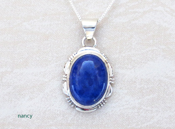 Image 0 of Lapis & Sterling Silver Pendant w/Chain Native American Jewelry - 2546rio