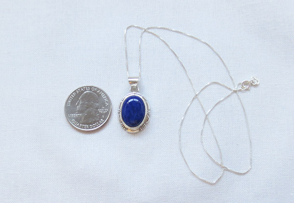 Image 1 of Lapis & Sterling Silver Pendant w/Chain Native American Jewelry - 2546rio