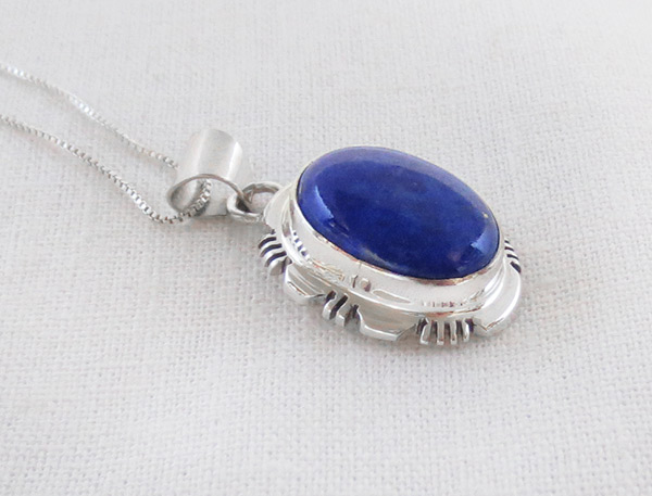 Image 2 of Lapis & Sterling Silver Pendant w/Chain Native American Jewelry - 2546rio
