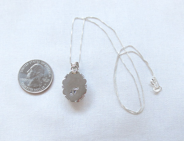 Image 3 of Lapis & Sterling Silver Pendant w/Chain Native American Jewelry - 2546rio