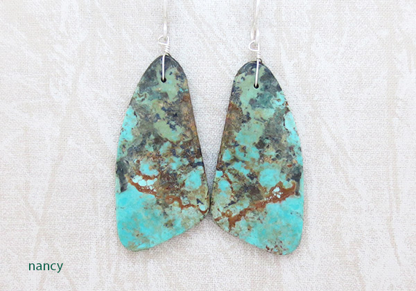 Turquoise Slab Earrings Native American Jewelry Santo Domingo - 2547rio