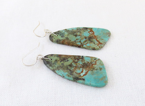 Image 1 of    Turquoise Slab Earrings Native American Jewelry Santo Domingo - 2547rio