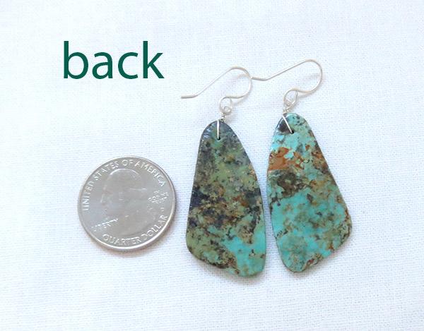 Image 2 of    Turquoise Slab Earrings Native American Jewelry Santo Domingo - 2547rio