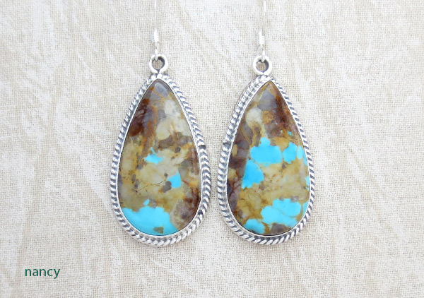 Image 0 of Boulder Turquoise & Sterling Silver Earrings Native American Jewelry - 3402rb