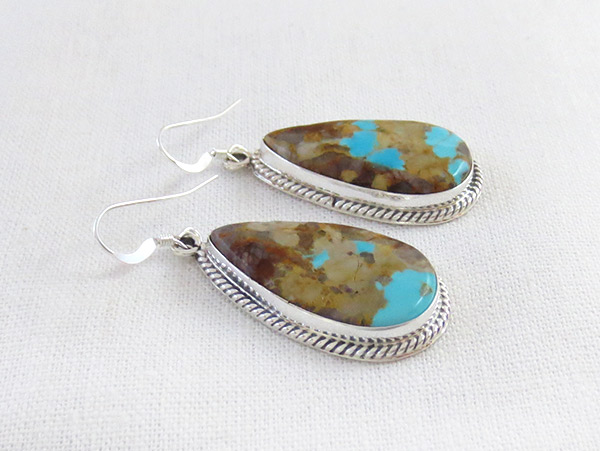 Image 1 of     Boulder Turquoise & Sterling Silver Earrings Navajo Made Jewelry - 3402rb