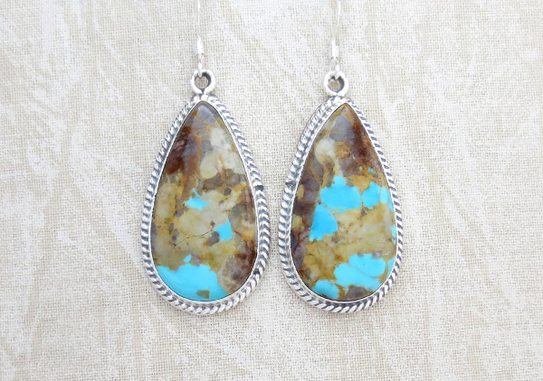 Boulder Turquoise & Sterling Silver Earrings Navajo Made Jewelry - 3402rb