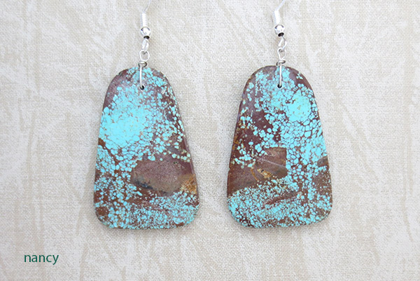 Native American Jewelry #8 Mine Turquoise Slab Earrings - 3401dt
