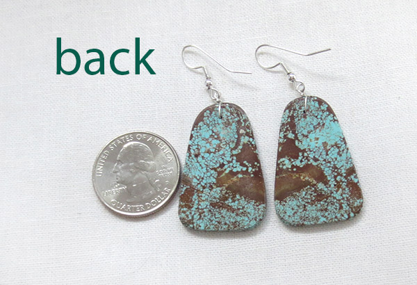 Image 2 of Native American Jewelry #8 Mine Turquoise Slab Earrings - 3401dt