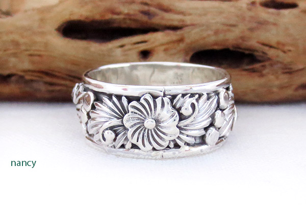 Image 1 of Navajo Jewelry Sterling Silver Flower Ring Sz 9.25 - 3407rb