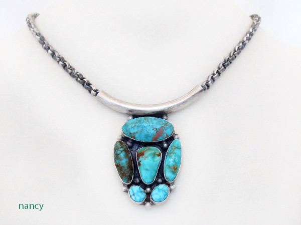 Image 0 of    BIG Turquoise & Sterling Silver Pendant Necklace Navajo Jewelry - 3405rb