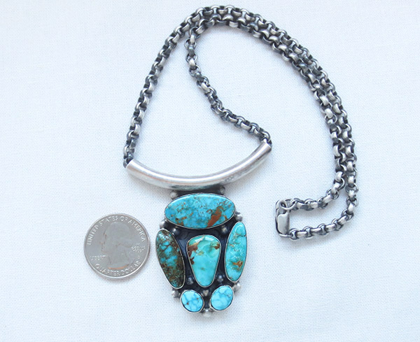Image 1 of    BIG Turquoise & Sterling Silver Pendant Necklace Navajo Jewelry - 3405rb