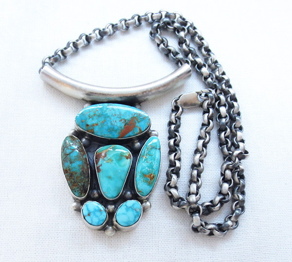 Image 2 of    BIG Turquoise & Sterling Silver Pendant Necklace Navajo Jewelry - 3405rb