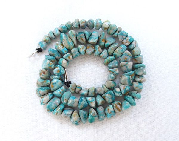 Fox Turquoise Necklace 18 Long Native American Jewelry - 3408sw