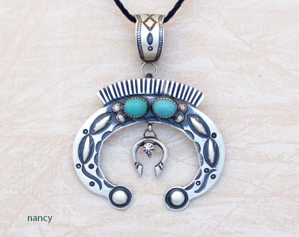 Large Turquoise & Sterling Silver Naja Pendant Navajo Jewelry - 3409rb