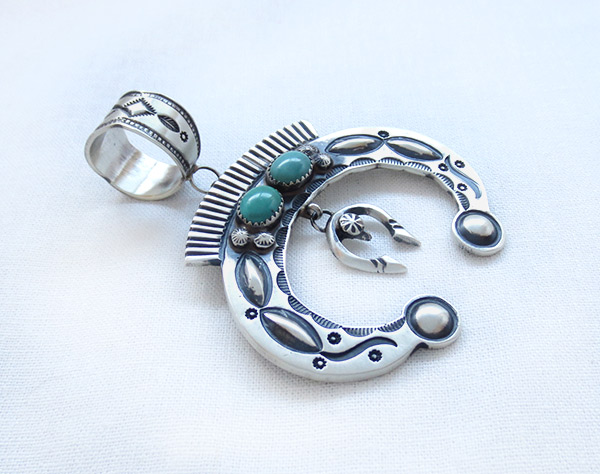 Image 2 of      Large Turquoise & Sterling Silver Naja Pendant Navajo Jewelry - 3409rb