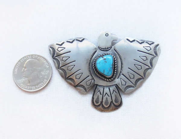 Image 1 of       Turquoise & Sterling Silver Thunderbird Pin Navajo Jewelry - 3406sw