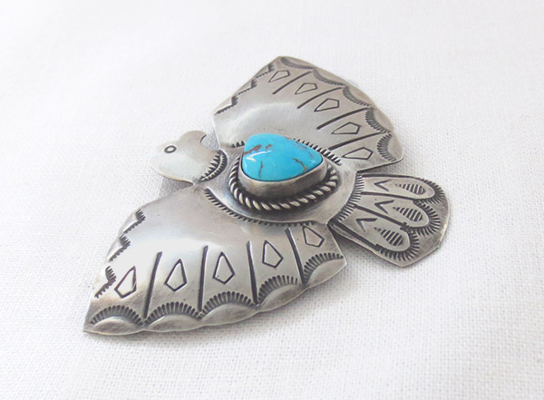 Image 2 of       Turquoise & Sterling Silver Thunderbird Pin Navajo Jewelry - 3406sw