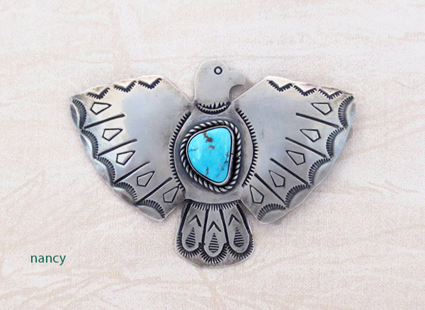 Turquoise & Sterling Silver Thunderbird Pin Navajo Jewelry - 3406sw