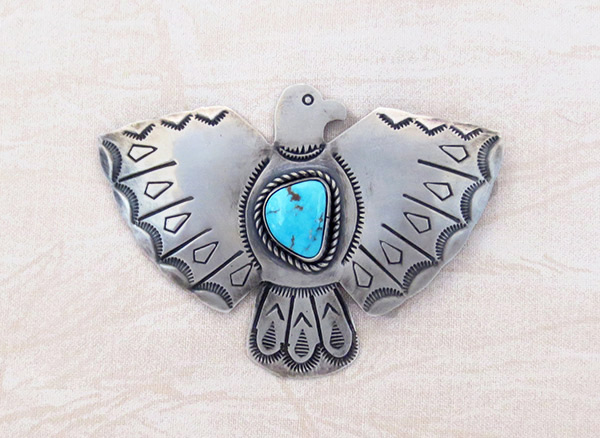 Image 0 of     Turquoise & Sterling Silver Thunderbird Pin / Brooch Navajo Jewelry - 3406sw