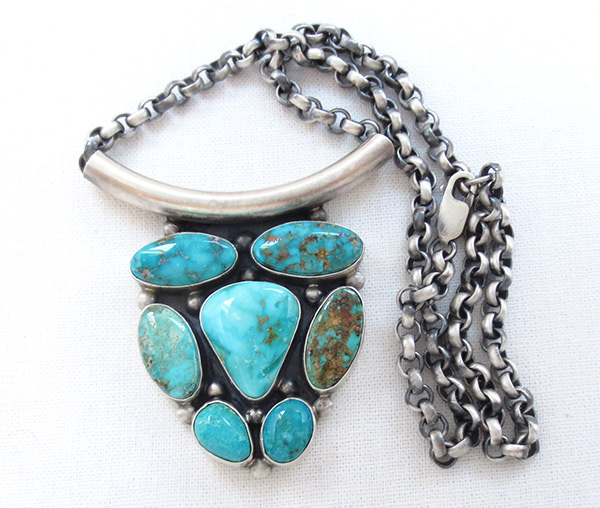 Image 0 of    Large Turquoise & Sterling Silver Pendant Necklace Navajo Jewelry - 3412rb
