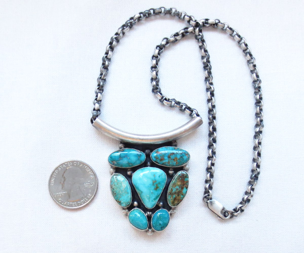 Image 2 of    Large Turquoise & Sterling Silver Pendant Necklace Navajo Jewelry - 3412rb