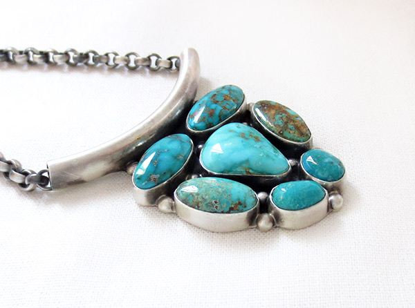 Image 3 of    Large Turquoise & Sterling Silver Pendant Necklace Navajo Jewelry - 3412rb