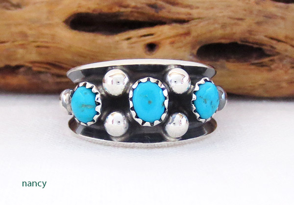 Sterling Silver & Turquoise Ring Sz 7.75 Navajo Jewelry - 3417rb