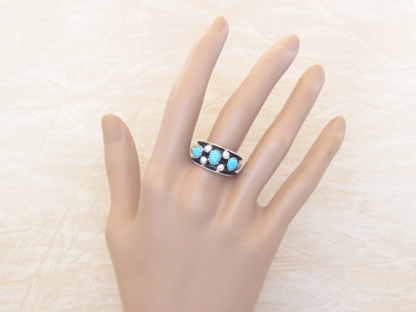 Image 1 of     Sterling Silver & Turquoise Ring Sz 7.75 Navajo Jewelry - 3417rb