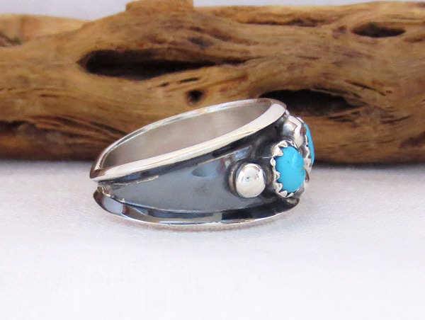 Image 2 of     Sterling Silver & Turquoise Ring Sz 7.75 Navajo Jewelry - 3417rb