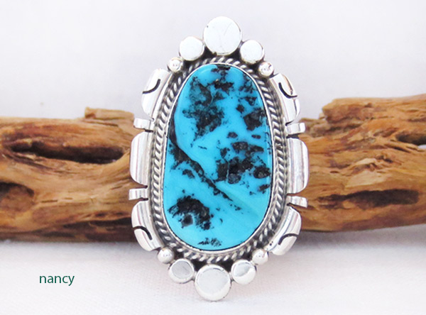 Image 0 of    Turquoise Nugget & Sterling Silver Ring Sz 9 Navajo Jewelry - 3416rb