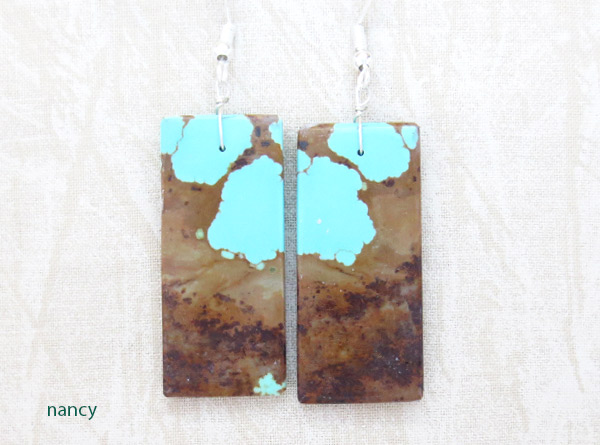 Image 0 of     Native American Jewelry #8 Mine Turquoise Slab Earrings - 3428dt