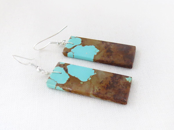 Image 1 of     Native American Jewelry #8 Mine Turquoise Slab Earrings - 3428dt