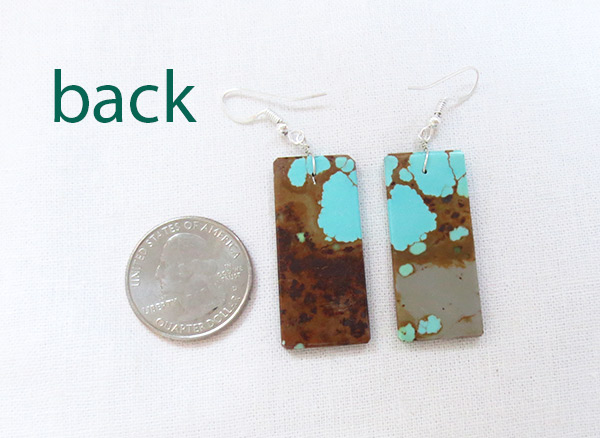 Image 2 of     Native American Jewelry #8 Mine Turquoise Slab Earrings - 3428dt