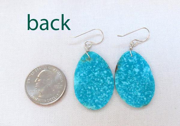 Image 2 of      Santo Domingo Jewelry Turquoise Slab Earrings - 3430pl