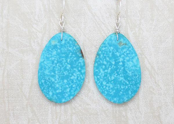 Santo Domingo Jewelry Turquoise Slab Earrings - 3430pl