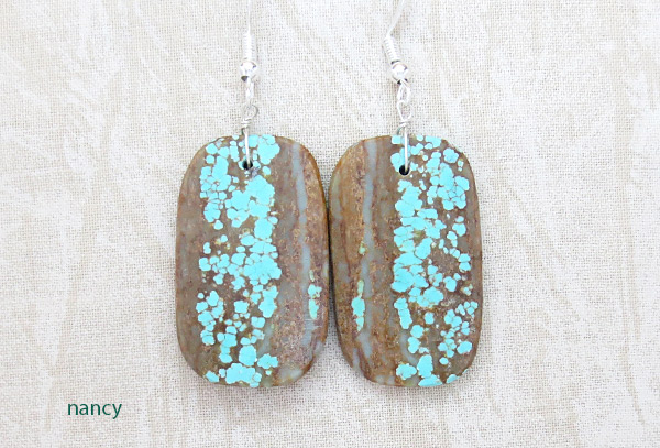 Native American Jewelry #8 Mine Turquoise Slab Earrings - 3429dt