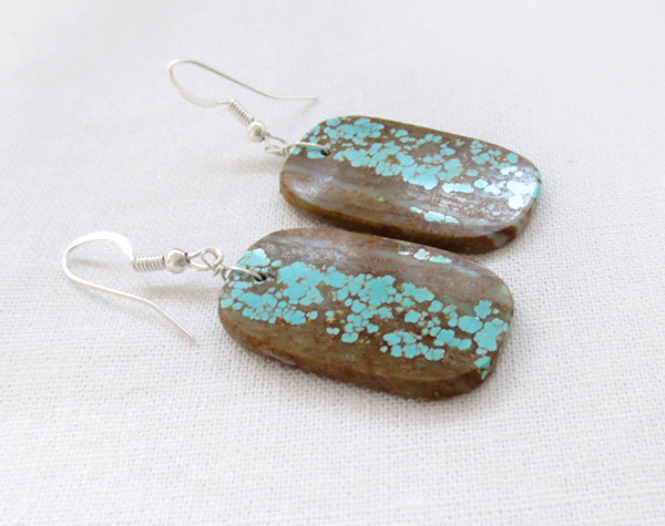 Image 1 of Native American Jewelry #8 Mine Turquoise Slab Earrings - 3429dt