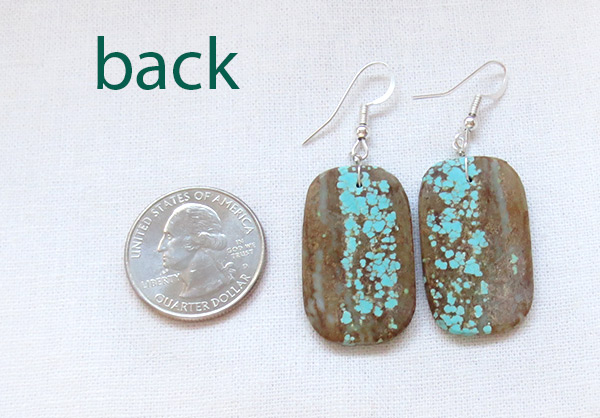 Image 2 of Native American Jewelry #8 Mine Turquoise Slab Earrings - 3429dt