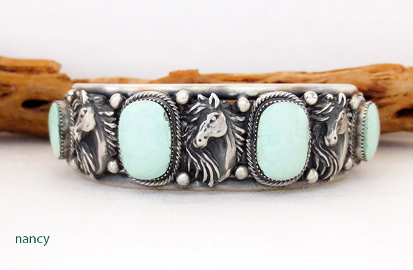 Image 0 of    Sterling Silver & Turquoise Horse Bracelet Native American Jewelry - 3435rb